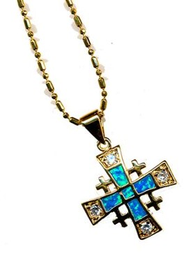 Jerusalem Cross Black Opal Pendant   -