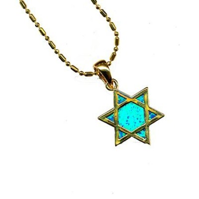 Black Opal Star of David Pendant   -