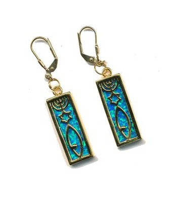 Messianic Sign Earrings Black Opal   -