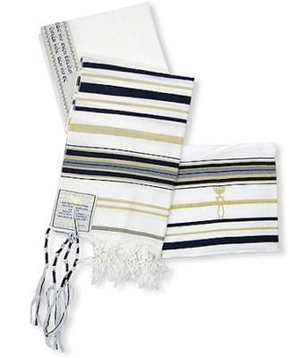 New Covenant Prayer Shawl, English/Hebrew with Bag 72 x 22   -