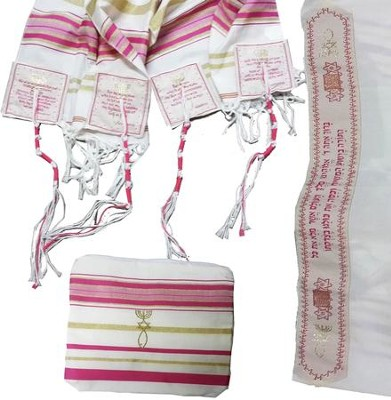 Messianic Christian Sign Pink Prayer Shawl & Carry Bag   -