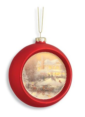 Victorian Christmas Glass Ornament, Red  -     By: Thomas Kinkade