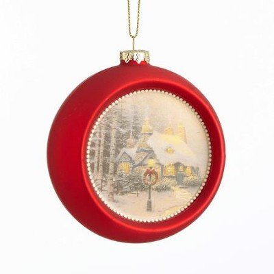 Stonehearth Hutch Glass Ornament, Red  -     By: Thomas Kinkade