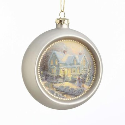 Blessings Of Christmas Glass Ornament, Metallic  -     By: Thomas Kinkade
