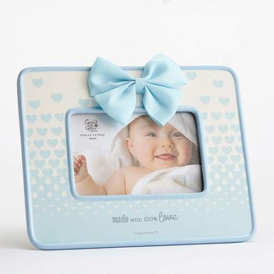 Made With 100 Percent Love Photo Frame with Bow, Blue  -