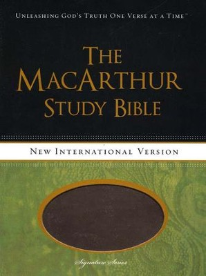 NIV MacArthur Study Bible Leathersoft Earth Brown & Brown Sugar Indexed  -