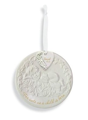 Baby Jesus, Round Porcelain Ornament, Isaiah 9:6  -