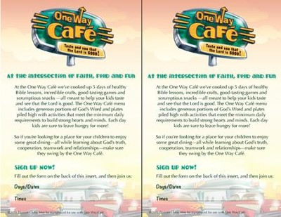 One Way Cafe Bulletin Insert (25/pack)   -