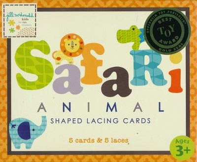 Safari Animal Shaped Lacing Cards (5 Cards & 5 Laces)   -