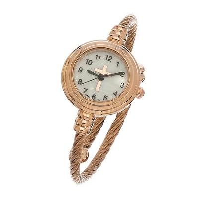 Coil Wrap Watch with Cross, Rosegold  -