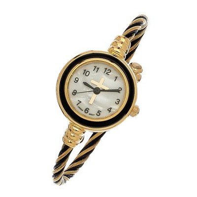 Coil Wrap Watch with Cross, Gold and Black  -
