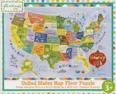 Hip Hip Horray It's the USA Floor Map Puzzle   -
