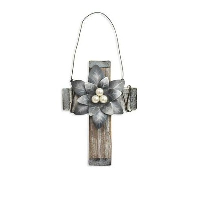 Silver Poinsettia Cross Ornament, Natural Wood with Metal  -