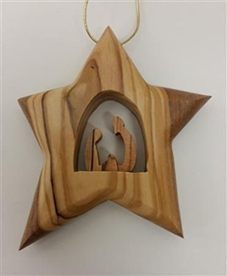 Holy Family Star Ornament, Wood  -