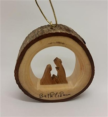 Holy Family Round Bark Ornament  -