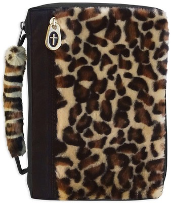 Leopard Fur Bible Cover with a Cross Zipper, Large  -