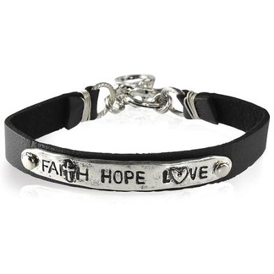 Faith Hope Love Leather Bracelet  -