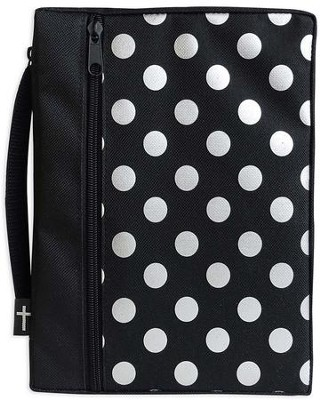 Canvas Bible Cover, Black with Silver Dot, Large  -
