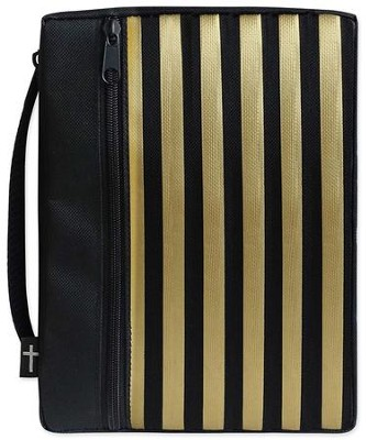 Canvas Bible Cover, Black with Gold Stripe, X-Large  -