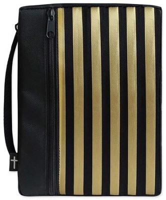 Canvas Bible Cover, Black with Gold Stripe, Large  -