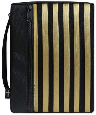 Canvas Bible Cover, Black with Gold Stripe, Medium  -