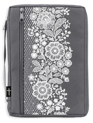Canvas Bible Cover, Gray with White Lace, Large  -
