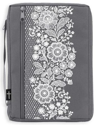 Canvas Bible Cover, Gray with White Lace, Medium  -