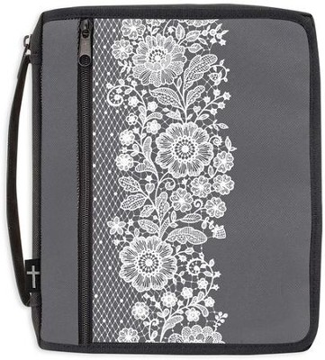 Canvas Bible Organizer, Gray with White Lace, X-Large  -