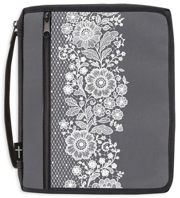 Canvas Bible Organizer, Gray with White Lace, Large  -