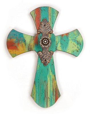 Painted Inspirations Cross, Blue  -