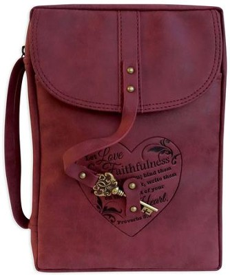 Distressed Bible Cover with Key Accent, Burgundy, X-Large  -