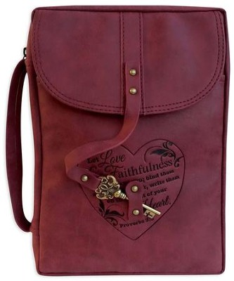 Distressed Bible Cover with Key Accent, Burgundy, Large  -