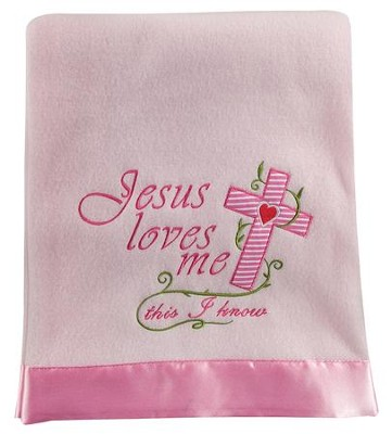 Jesus Loves Me Fleece Throw, Pink  -