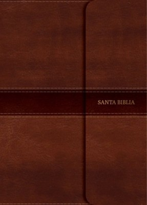 RVR 1960 Large-Print Personal-Size Bible--soft leather-look, brown with magnetic flap  -