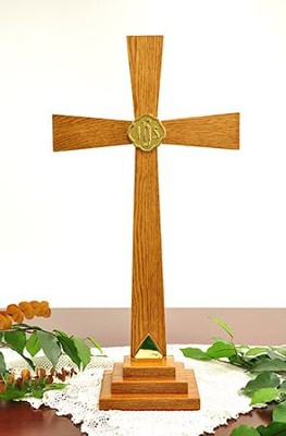 Solid Oak Altar Cross with Brass Accents (24 inch)   -