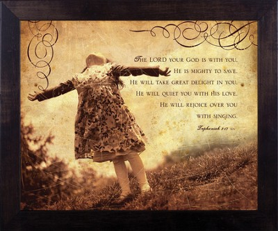 Rejoice Over You, Zephaniah 3, Framed Print  -     By: Julie Chen