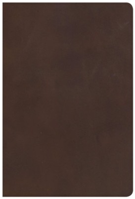 KJV Giant-Print Reference Bible--genuine leather, brown  -
