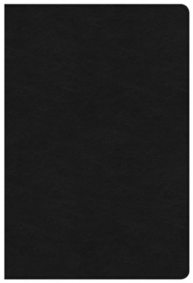 NKJV Large-Print Ultrathin Reference Bible--premium genuine leather, black (indexed)  -