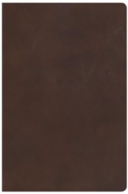 KJV Super Giant-Print Reference Bible--genuine leather, brown  -