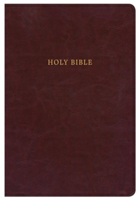 KJV Super Giant-Print Reference Bible--soft leather-look, burgundy (indexed)  -