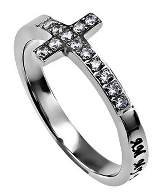 Beloved Sideways Cross Women's Ring, Size 7 (Song of Songs 6:3)  -