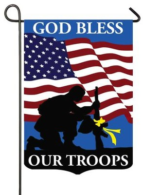 God Bless Our Troops, Applique Flag, Small  -