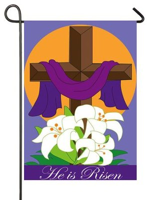 He Is Risen, Cross with Lilies, Applique Flag, Small  -