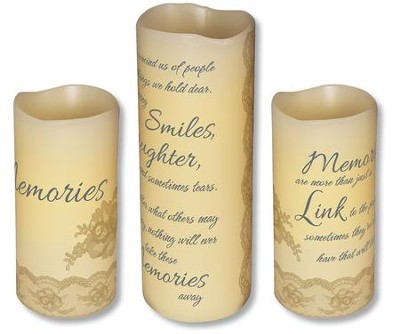 Abiding Light LED Candles, Vanilla Scented, Memories, 3 Piece Set  -