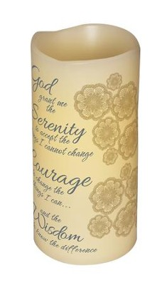 Abiding Light LED Candle, Vanilla Scented, Serenity Prayer, 6x3  -