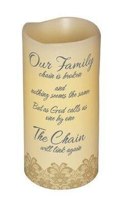 Abiding Light LED Candle, Vanilla Scented, Our Family Chain, 6x3  -