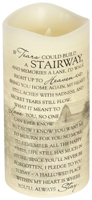 Everlasting Glow LED Candle, Vanilla Scented, If Tears Could Build A Stairway, 8x4  -