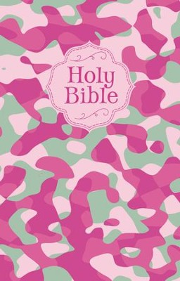 NKJV Camouflage Bible, cloth softcover, pink  -