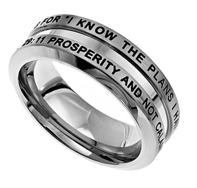 I Know Industrial Men's Ring, Size 12 (Jeremiah 29:11)  -
