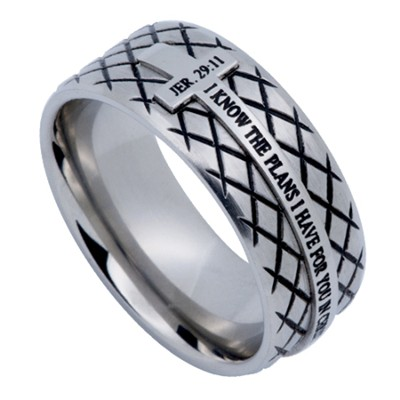 I Know Diamond Back Men's Ring Silver, Size 14 (Jeremiah 29:11)  -